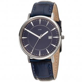 JOBO Herren Armbanduhr Quarz Analog Titan Lederband blau Datum Herrenuhr