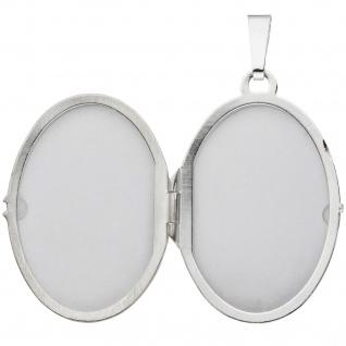 Medaillon oval 925 Sterling Silber rhodiniert mattiert Anhänger zum Öffnen - Vorschau 3