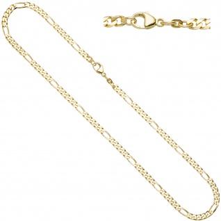 Figarokette 585 Gelbgold 4, 4 mm 50 cm Gold Kette Halskette Goldkette Karabiner