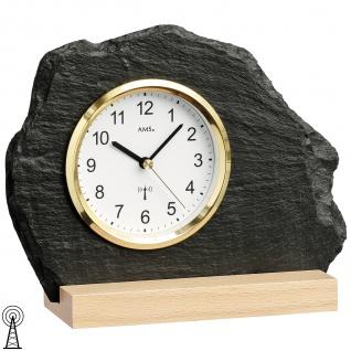 AMS 5115 Tischuhr Funk silbern golden Holz Buche mit Glas Schiefer Naturschiefer