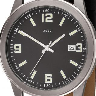 JOBO Herren Armbanduhr Quarz Analog Titan Lederband schwarz Herrenuhr mit Datum - Vorschau 2