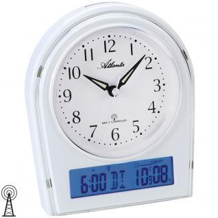 Atlanta 1827/0 Wecker Funk Funkwecker weiß mit Licht Snooze Thermometer Datum