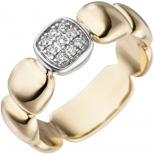 Damen Ring 585 Gold Gelbgold Weißgold bicolor 9 Diamanten Brillanten Goldring