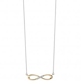 Collier Halskette Unendlich 585 Gold bicolor 5 Diamanten Brillanten Kette - Vorschau 4