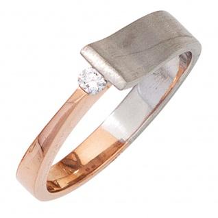 Damen Ring 585 Gold Weißgold Rotgold bicolor teilmatt 1 Diamant Brillant