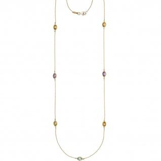 Halskette Kette lang 585 Gold Gelbgold Citrine Blautopase Amethyste 90 cm