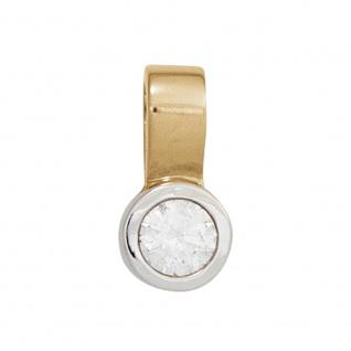 Einhänger Anhänger 585 Gold Gelbgold Weißgold bicolor 1 Diamant Brillant 0, 10ct.