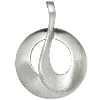 Anhänger rund 925 Sterling Silber rhodiniert mattiert