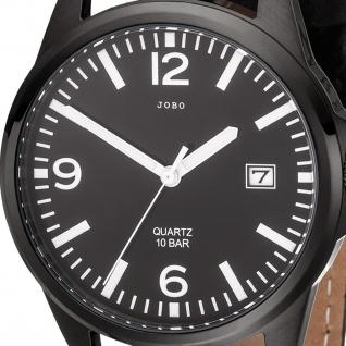 JOBO Herren Armbanduhr Quarz Analog Edelstahl Lederband schwarz Datum Herrenuhr - Vorschau 2