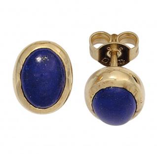 Ohrstecker oval 585 Gold Gelbgold 2 Lapislazuli blau Ohrringe Goldohrstecker