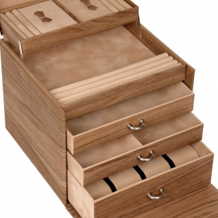 Sacher Schmuckkoffer Schmuckkasten NORDIC STYLE weiß und Holz-Optik Uhrenfach - Vorschau 4