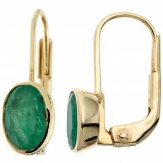 Boutons oval 333 Gold Gelbgold 2 Smaragde grün Ohrringe Ohrhänger Goldohrringe