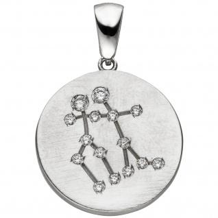 Anhänger Sternzeichen Zwilling 925 Sterling Silber matt 15 Zirkonia Silberan