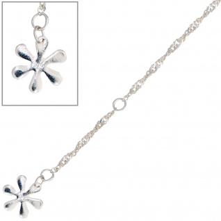 Fußkettchen Fußkette Blume 925 Sterling Silber rhodiniert 25 cm Federring