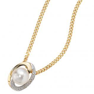 Anhänger 585 Gold Gelbgold bicolor 1 Süßwasser Perle 2 Diamanten Perlenanhänger - Vorschau 3
