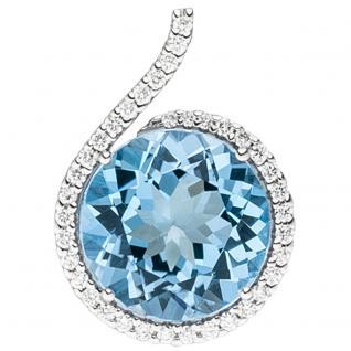 Anhänger 585 Gold Weißgold 37 Diamanten Brillanten 1 Blautopas hellblau blau