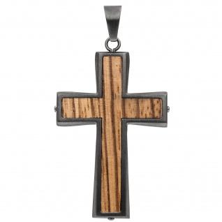 Anhänger Kreuz Edelstahl in Holz-Optik