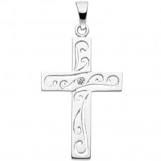Anhänger Kreuz 925 Sterling Silber 1 Zirkonia Kreuzanhänger Silberkreuz - Vorschau