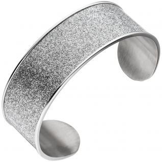 Armspange / offener Armreif breit aus Edelstahl Armband mit Glitzereffekt