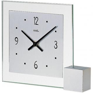 AMS 102 Tischuhr Quarz analog silbern modern eckig mit Glas und Aluminium