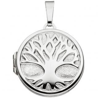 Medaillon rund Baum 925 Sterling Silber rhodiniert zum Öffnen für 2 Fotos