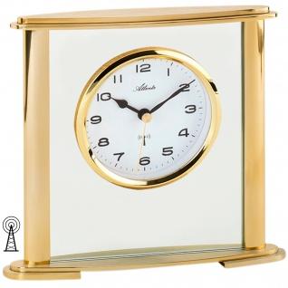 Atlanta 3092/9 Stiluhr Tischuhr Funk analog golden mit Glas