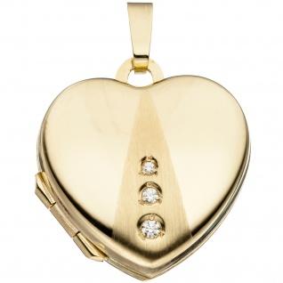 Medaillon Herz Anhänger zum Öffnen für Fotos 333 Gold 3 Zirkonia mit Kette 50 cm - Vorschau 3