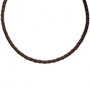Leder Halskette Kette Schnur braun 45 cm Karabiner 925 Sterling Silber - Vorschau 3