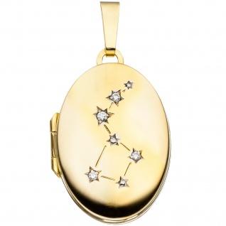 Medaillon oval für 2 Fotos aus 333 Gold Gelbgold 4 Zirkonia Anhänger zum Öffnen