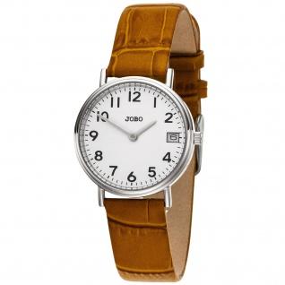 JOBO Damen Armbanduhr Quarz Analog Edelstahl Lederband braun Datum Damenuhr