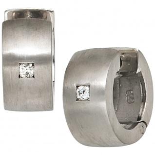 Creolen rund breit 925 Sterling Silber matt 2 Diamanten Brillanten Ohrringe