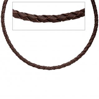 Leder Halskette Kette Schnur braun 50 cm Karabiner 925 Sterling Silber - Vorschau 3