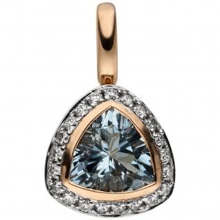 Anhänger 585 Rotgold 21 Diamanten Brillanten 1 Aquamarin hellblau blau