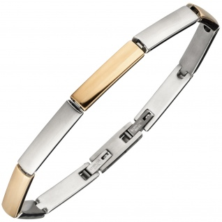 Armband Edelstahl bicolor teil matt 20 cm