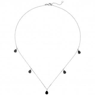 Collier Halskette 925 Sterling Silber 5 Onyxe 45 cm