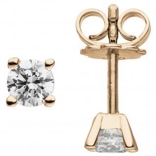 Ohrstecker 585 Gold Rotgold 2 Diamanten Brillanten 0, 74 ct. Ohrringe