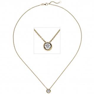 Collier Kette mit Anhänger 585 Gold Gelbgold 1 Diamant Brillant 0, 70 ct. 45 cm