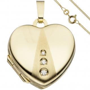 Medaillon Herz Anhänger zum Öffnen für Fotos 333 Gold 3 Zirkonia mit Kette 50 cm