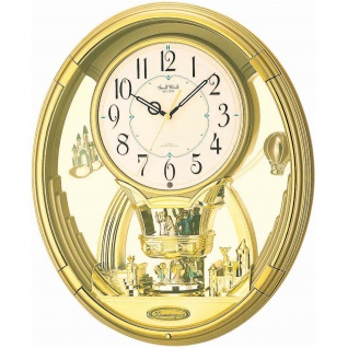 Rhythm 7736 Wanduhr MAGIC MOTION mit Drehpendel golden mit 6 Melodien