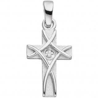 Anhänger Kreuz 925 Silber mattiert 1 Zirkonia Kreuzanhänger