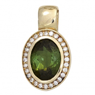 Anhänger oval 585 Gold Gelbgold 1 Turmalin grün 28 Diamanten Brillanten 0, 10ct.