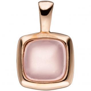 Anhänger quadratisch 925 Sterling Silber rotgold vergoldet 1 rosa Glasstein