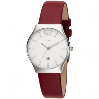 JOBO Damen Armbanduhr Quarz Analog Edelstahl Lederband rot Datum Damenuhr