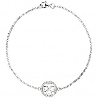 Armband Kleeblatt 925 Sterling Silber 28 Zirkonia 19 cm Glücksbringer
