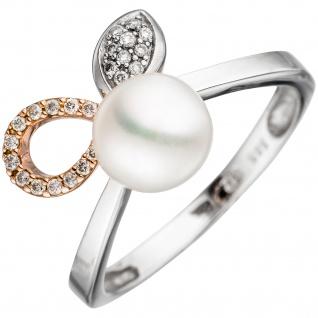 Damen Ring 585 Weißgold Rotgold bicolor 1 Süßwasser Perle 25 Diamanten