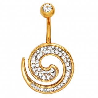 Bauchnabel Piercing Edelstahl gold vergoldet mit SWAROVSKI® ELEMENTS
