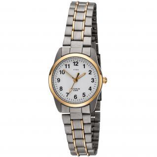 JOBO Damen Armbanduhr Quarz Analog Titan bicolor vergoldet Damenuhr