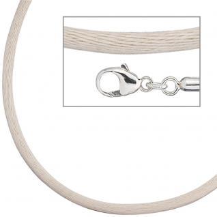 Collier Halskette Seide beige 2, 8 mm 42 cm, Verschluss 925 Silber Kette