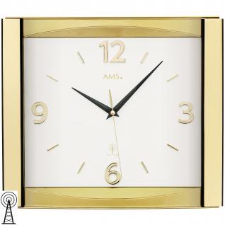 AMS 5613 Wanduhr Funk Funkwanduhr analog golden mit Glas