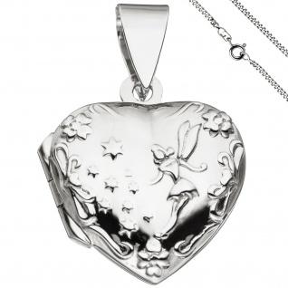 Medaillon Herz Anhänger zum Öffnen für 2 Fotos 925 Silber mit Kette 50 cm